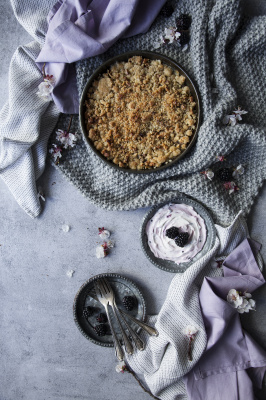Apple and Pear Crumble with Blackberry Labneh Mousse